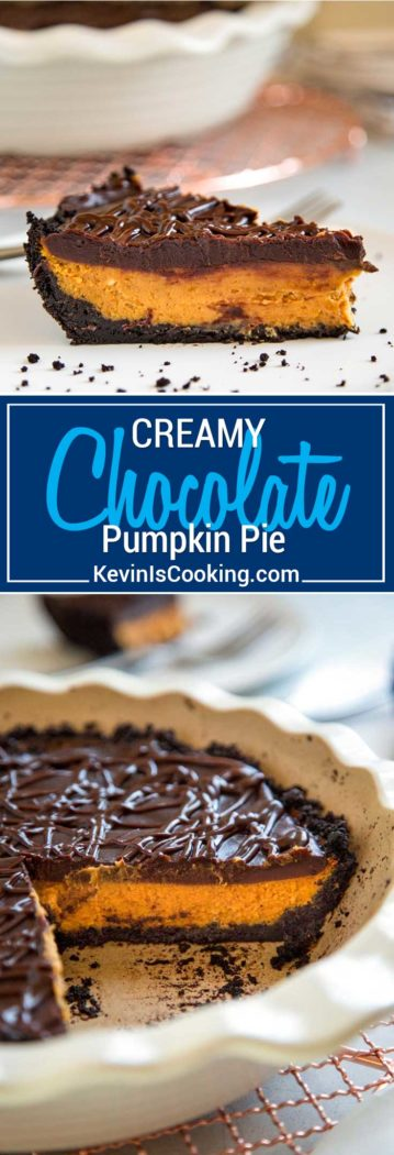 For this Creamy Chocolate Pumpkin Pie I layered a delicious glaze of chocolate ganache on top with a chocolate cookie crust for a spin on the classic pumpkin pie.