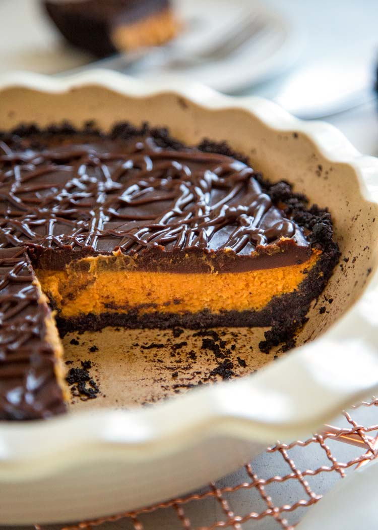 For my Creamy Chocolate Pumpkin Pie I layered a delicious glaze of chocolate ganache on top with a chocolate cookie crust for a spin on the classic pumpkin. keviniscooking.com
