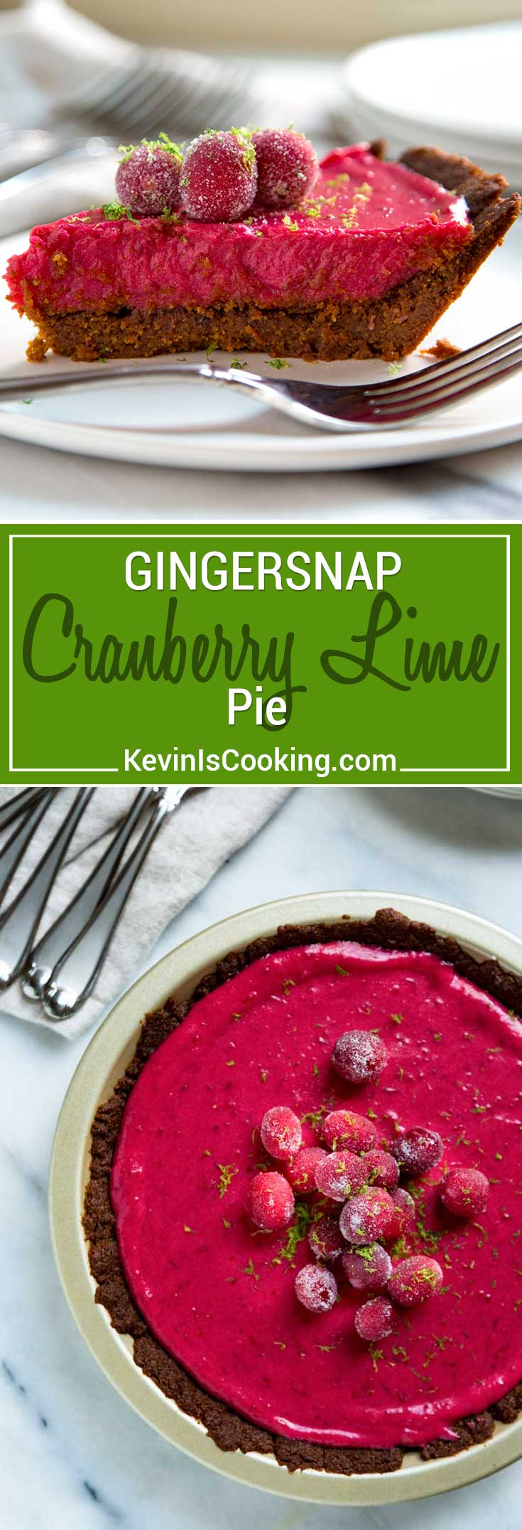 This Cranberry Lime Pie has a gingersnap cookie and walnut crust, a cranberry lime curd that is out of this world and topped with candied cranberries. Wow!