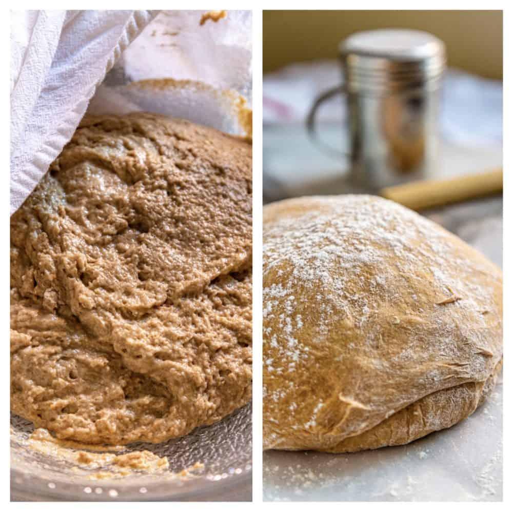 photo collage: dough for whole wheat rolls before and after rising