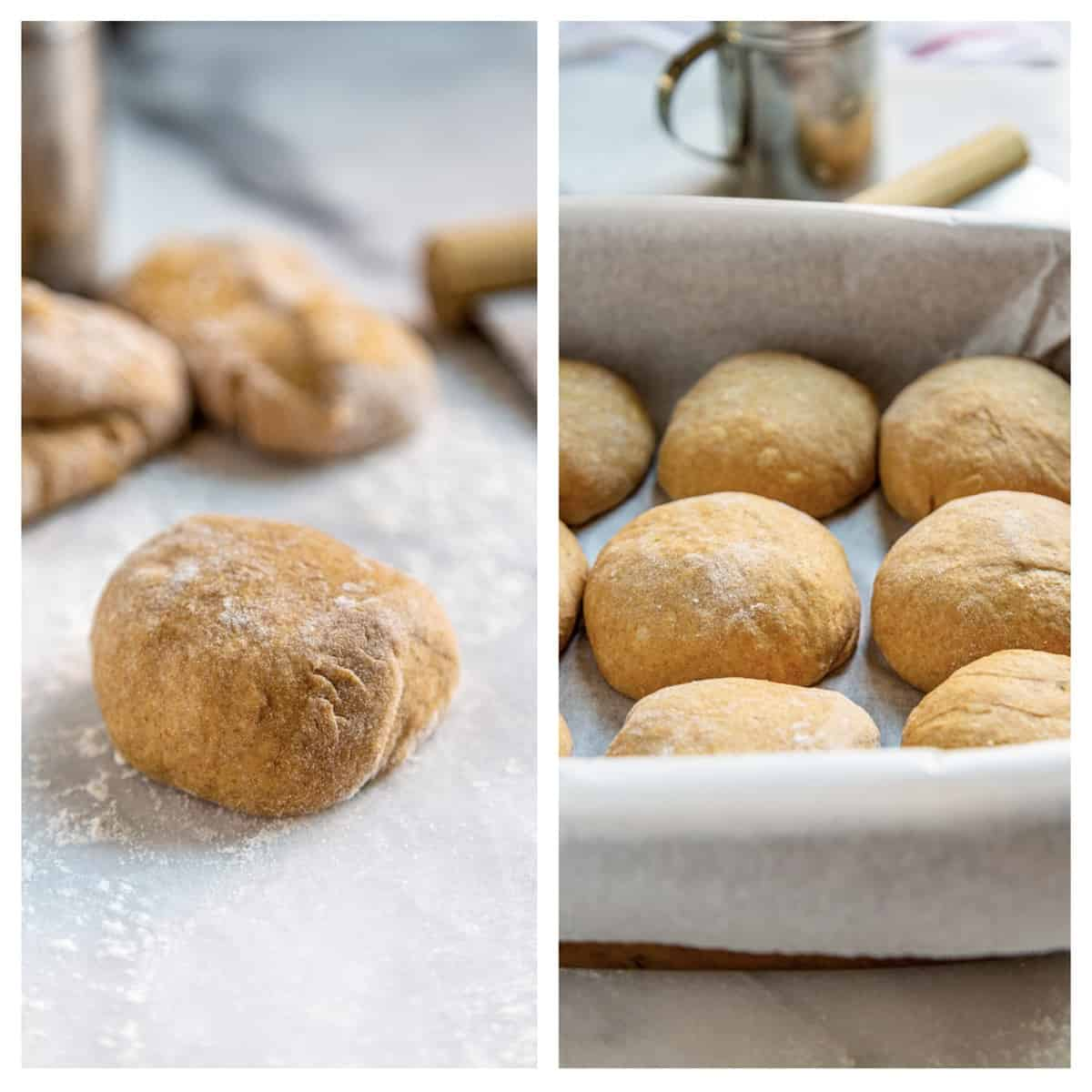 side by side photos: homemade yeast dinner rolls before and after baking