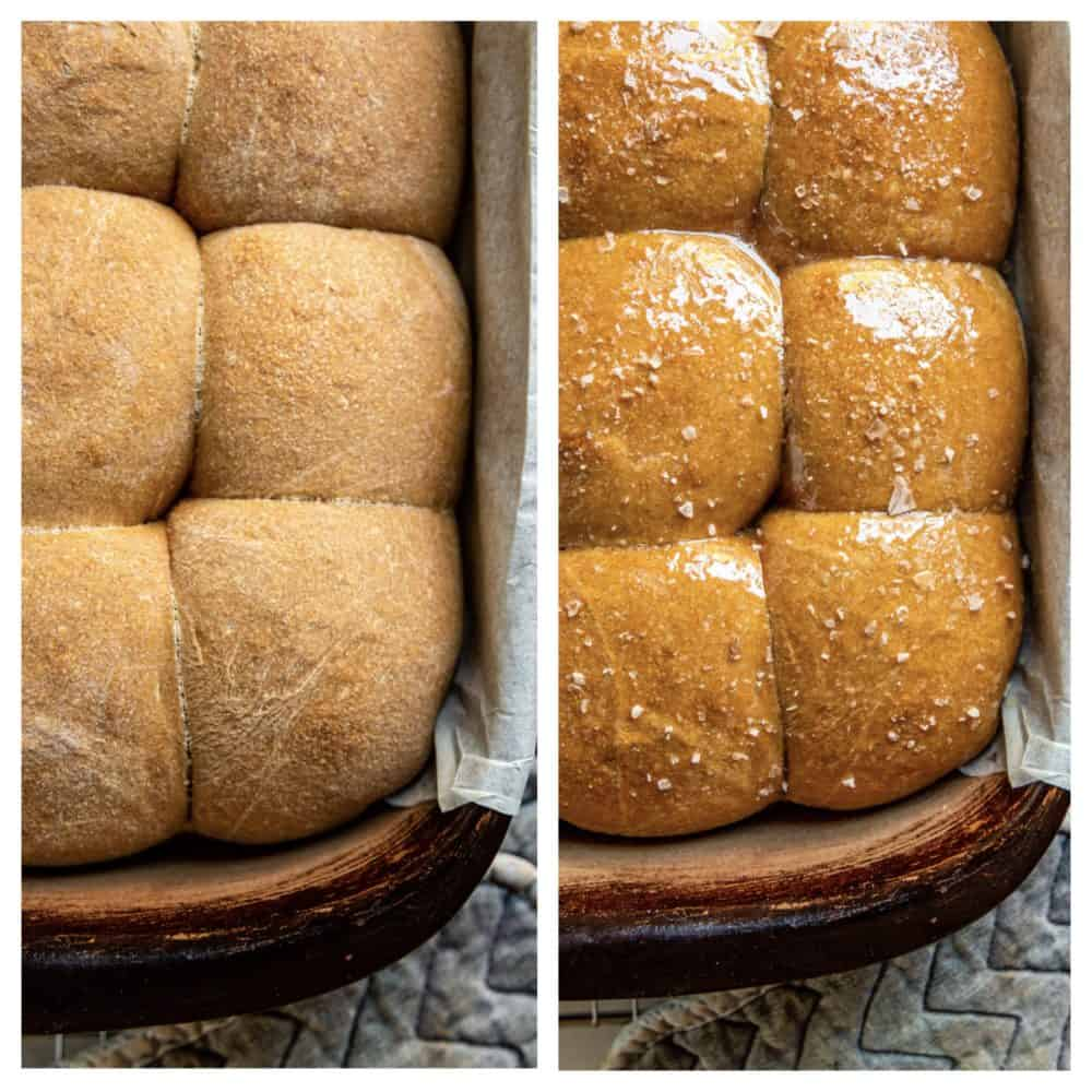 side by side collage: yeast rolls before and after buttering tops