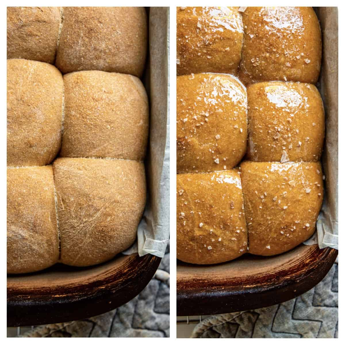 side by side photos: freshly baked whole wheat rolls in pan, and rolls with melted butter and sea salt flakes on top