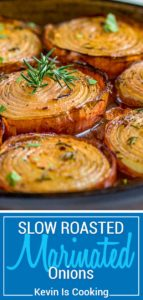 These Marinated Slow Roasted Onions are a side dish that are worth you taking a look at. Really. Not your typical side dish like a green bean casserole or a baked potato, these caramelize roasting in a bath of red wine vinegar, brown sugar and spices.