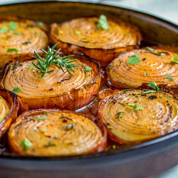 slow roasted marinated onions