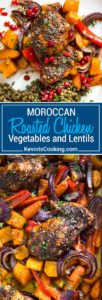 Moroccan Roasted Chicken starts with a rub of warm spices that include cinnamon, cumin, chili and mint. Roasted on top of fall vegetables all in one pan!