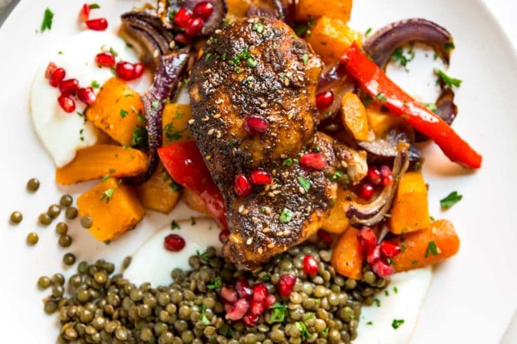 Moroccan Roasted Chicken Vegetables and Lentils