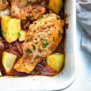 For this Spanish Chicken boneless thighs are simply seasoned with smoked paprika and lemon juice, slow roasted with red onions, garlic and potatoes for a rustic dish for a simple and rustic dish that delivers big on flavor with minimal effort. keviniscooking.com