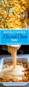ThisBuffalo Chicken Mac and Cheese Bake is super creamy with 3 cheeses, lots of chopped Buffalo sauced chicken and a fantastic bleu cheese breadcrumb topping baked to a golden brown. This feeds a crowd, or halve it for a mid-week dinner, too. keviniscooking.com