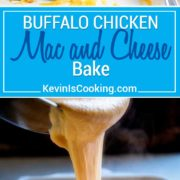 This Buffalo Chicken Mac and Cheese Bake is super creamy with 3 cheeses, lots of chopped Buffalo sauced chicken and a fantastic bleu cheese breadcrumb topping baked to a golden brown. This feeds a crowd, or halve it for a mid-week dinner, too. keviniscooking.com