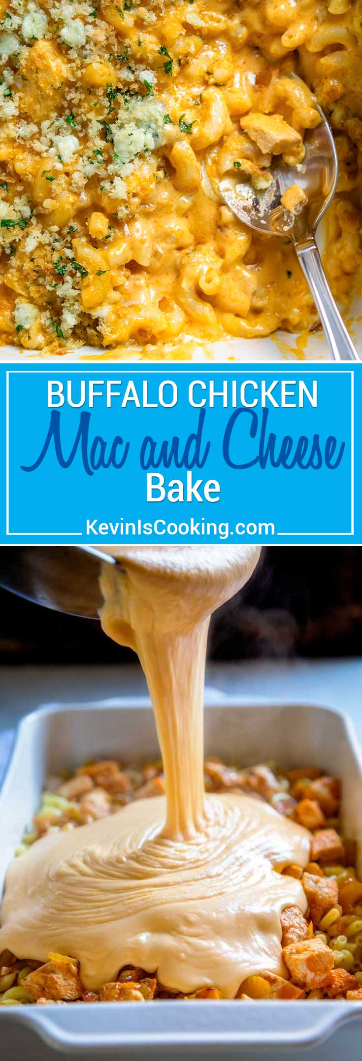 This Buffalo Chicken Mac and Cheese is super creamy with 3 cheeses, lots of chopped Buffalo sauced chicken and a fantastic bleu cheese breadcrumb topping baked to a golden brown. This feeds a crowd, or halve it for a mid-week dinner, too.