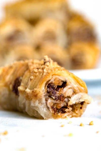 Chocolate Walnut Rolled Baklava