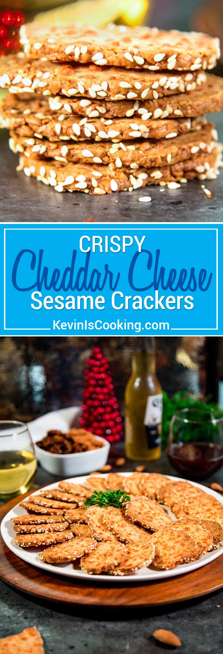 These easy Crispy Sesame Cheddar Cheese Crackers are made with cream and cheddar cheeses, flour, spices then rolled and sliced for baking. Great anytime snacking!
