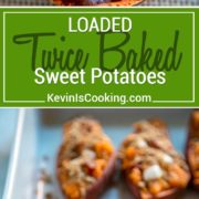 These Loaded Twice Baked Sweet Potatoes have sweet brown sugar streusel and marshmallows to savory bacon all mixed with buttery mashed sweet potato. keviniscooking.com
