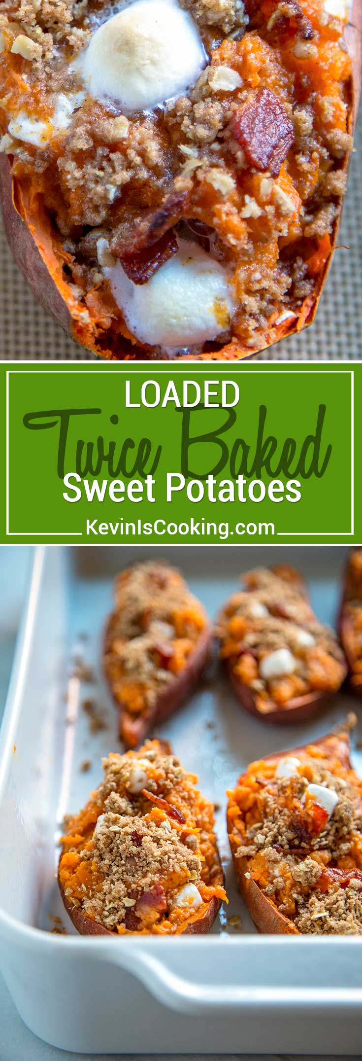These Loaded Twice Baked Sweet Potatoes have sweet brown sugar streusel and marshmallows to savory bacon all mixed with buttery mashed sweet potato. Easy make ahead dish!
