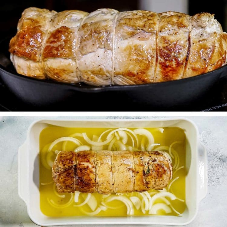 This Roasted Stuffed Pork Loin gets brined, butterflied, layered with prosciutto and broccoli rabe then is tied, rolled and roasted to tender perfection. keviniscooking.com