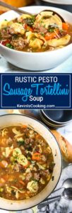 Rustic Pesto Sausage Tortellini Soup hits the spot with tortellini, pan seared Italian sausage, vegetables and a dollop of pesto. All made in 30 minutes!