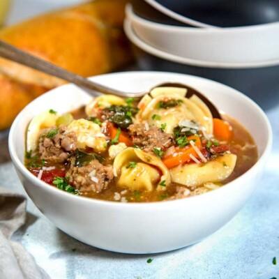 Rustic Pesto Sausage Tortellini Soup