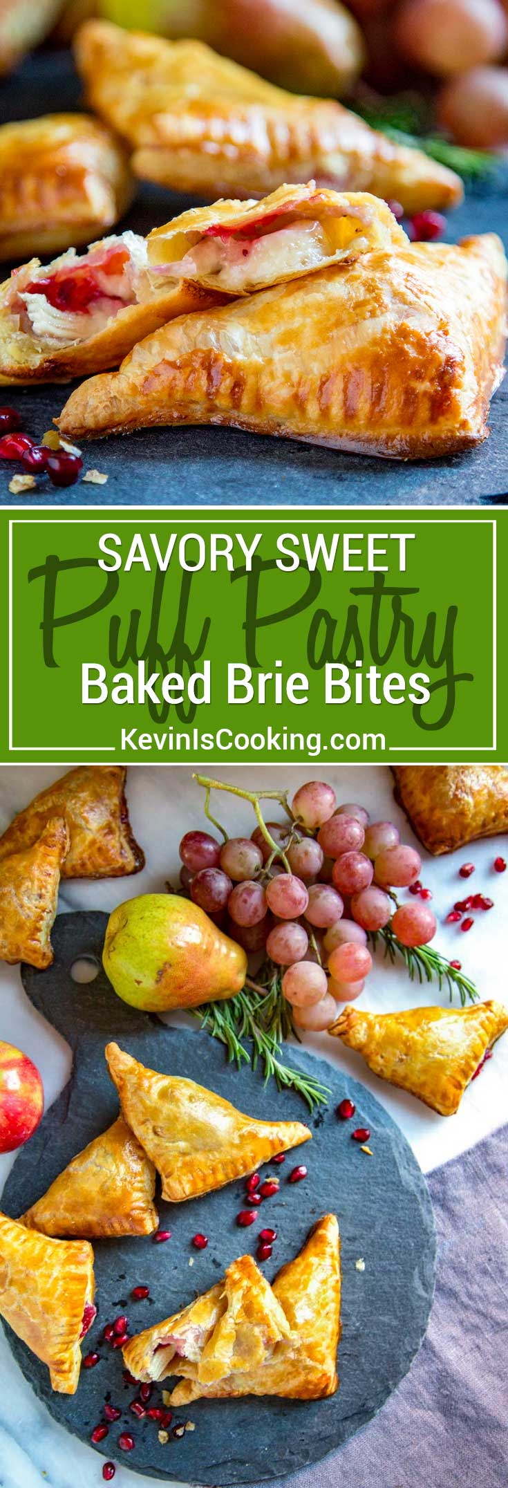 These tender Savory Sweet Baked Brie Bites are super easy to make using puff pastry, dijon mustard, Brie cheese, cranberry sauce, or your favorite jam. Perfect party food!