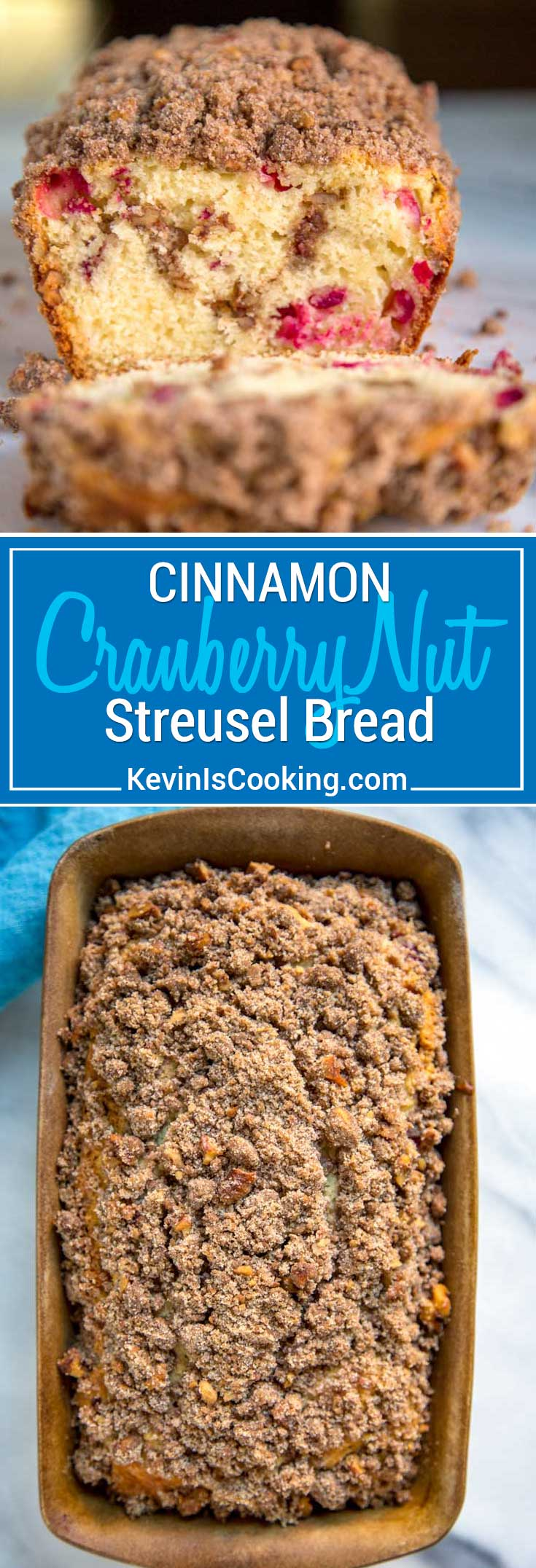 This tenderCranberry Nut Bread is the perfect way to wake up with a cup of coffee or tea. Loaded with cranberries and a crunchy cinnamon streusel topping.