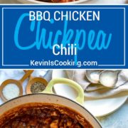 For my BBQ Chicken Chickpea Chili I decided instead of chunks of ground beef or steak, I would use chopped BBQ chicken and add it to one of my favorite chili recipes with an extra bump in bean power coming from chickpeas. Chili powder, chipotle, beer and other spices round out this spicy good family favorite.