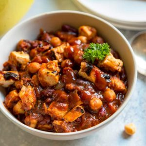 A bowl of bbq chicken chili