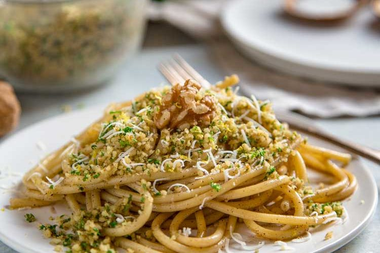 Brown Butter Bucatini with Walnuts