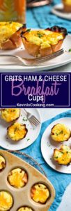 I love a big Sunday breakfast and these Grits Ham and Cheese Breakfast Cups are a perfect way to have it all. Eggs and cheese get whipped into cooked grits and poured into a muffin pan lined with slices of sweet ham. So easy!