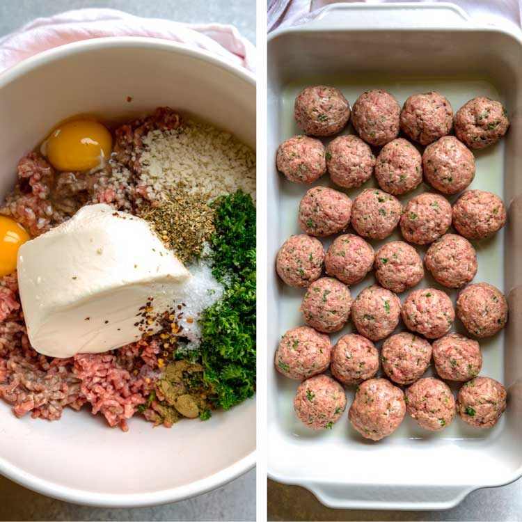 step by step photo of classic beef meatballs