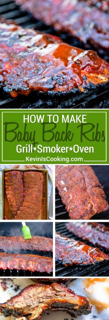 Step by step instructions on How to Make Baby Back Ribs that are tender, fall off the bone good whether on the grill, in the smoker or in the oven. The key things to remember are start with a dry rub, baste with a mop sauce while cooking and glaze with BBQ sauce until sticky and tender.