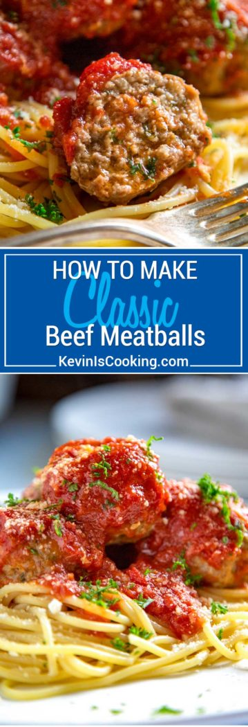 Classic Beef Meatballs. Round, tender, juicy, not dried out and packed with flavor. Mine use ground beef, are light in breadcrumbs, get added fat from ricotta cheese and are seasoned beautifully with red pepper flakes and ground fennel.