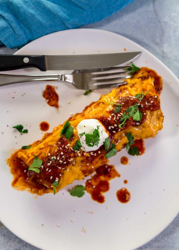 overhead photo of Potato and Beef Enchiladas