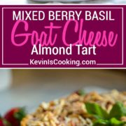 Berry, Goat Cheese and Basil Tart - Tangy goat cheese mixed with fresh berries & basil. A graham cracker crust & crunchy topping is perfect! #cheesecake #berries #almondtart