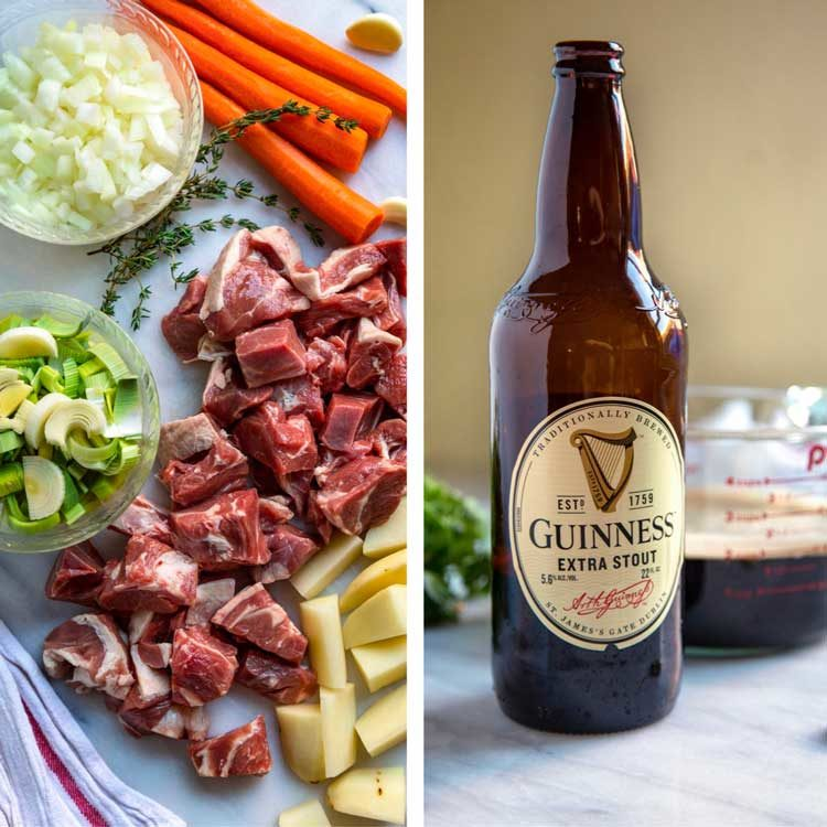 ingredients for Guinness Irish Stew