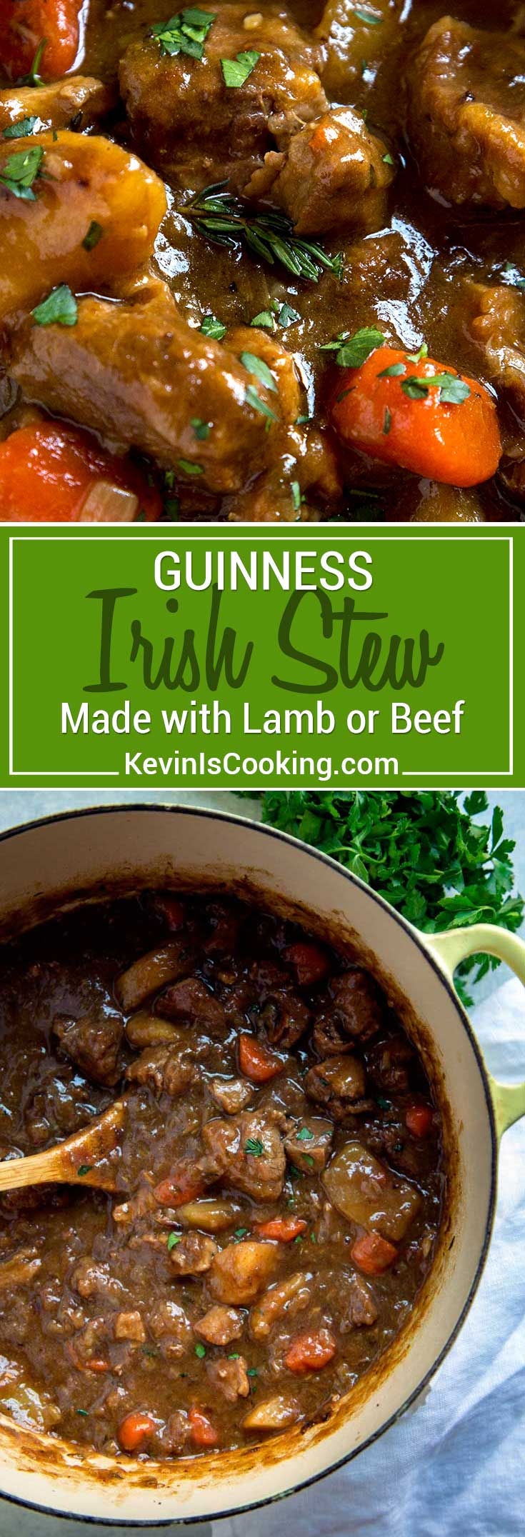St. Patrick's Day doesn't mean just serving up corned beef. This Guinness Irish Stew is a great alternative with an incredibly rich, thick broth. Lamb or beef get layered with flavors due to a slow braise in Guinness beer, vegetables and herbs. Plus it's made all in one pan! #stew #Irish #Guinness