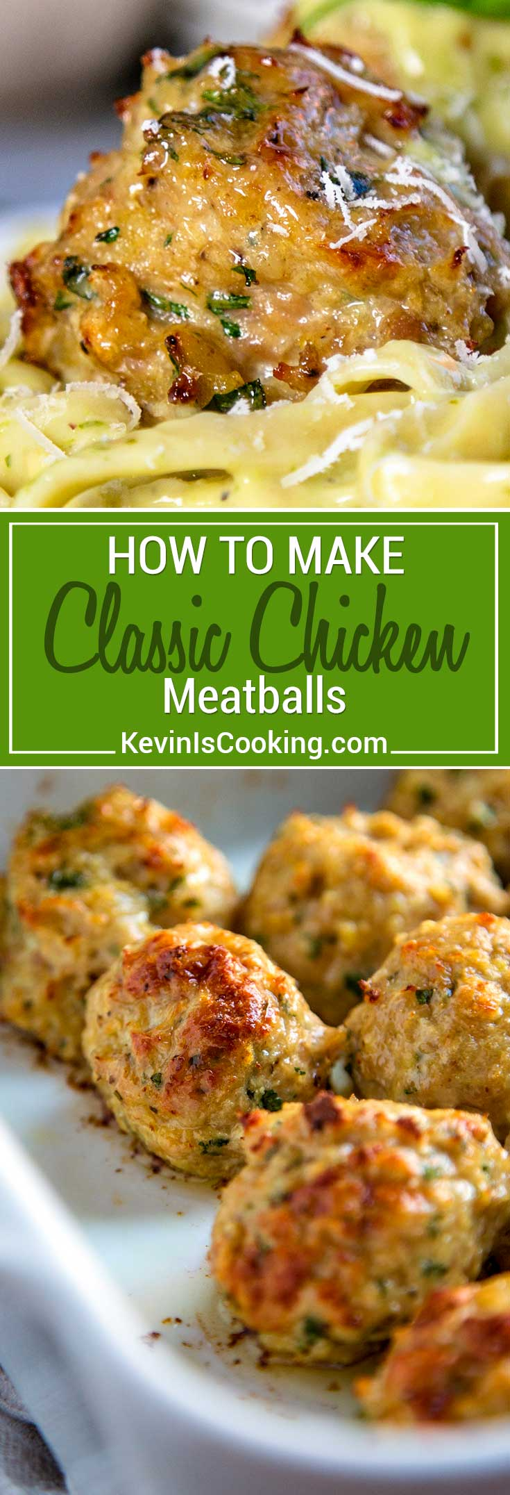 For me Classic Chicken Meatballs need to be moist, flavorful and not too dense. In these roasted chicken meatballs I keep the ingredients few, just enough to hold the chicken mixture together, and the herbs and spices of parsley, fennel, and celery salt light.