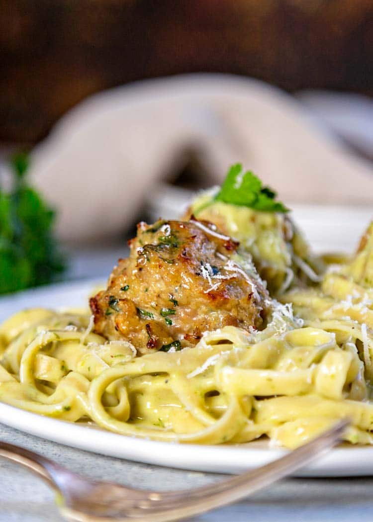 close up of classic chicken meatball on pasta
