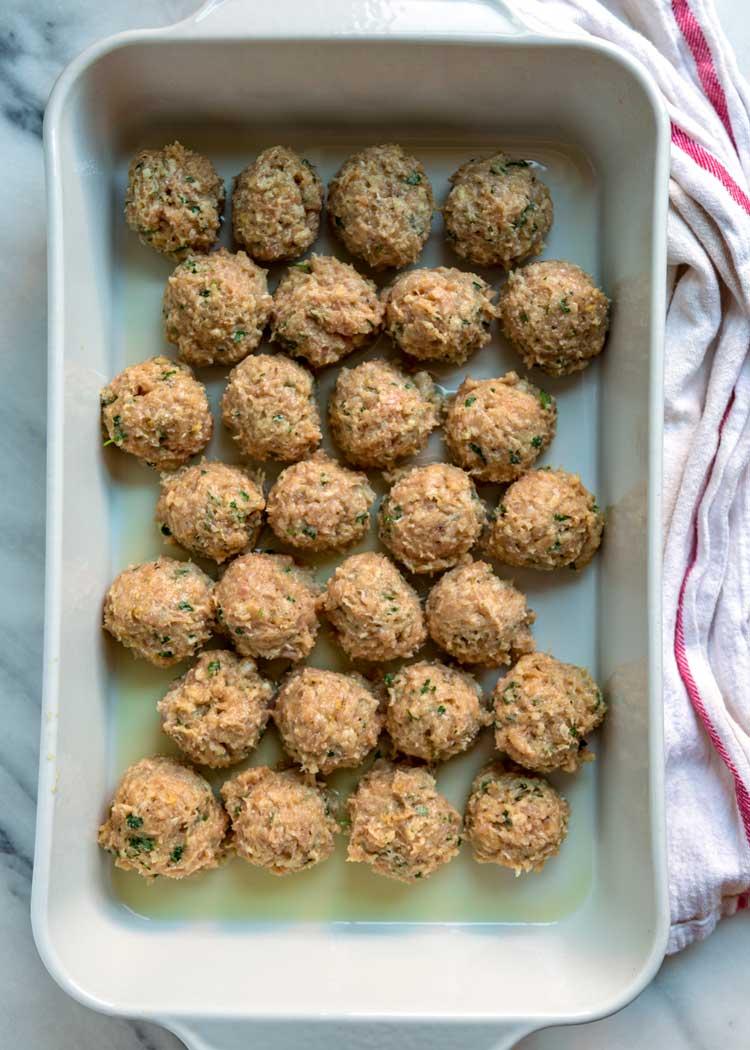 overhead photo of pan of classic chicken meatballs