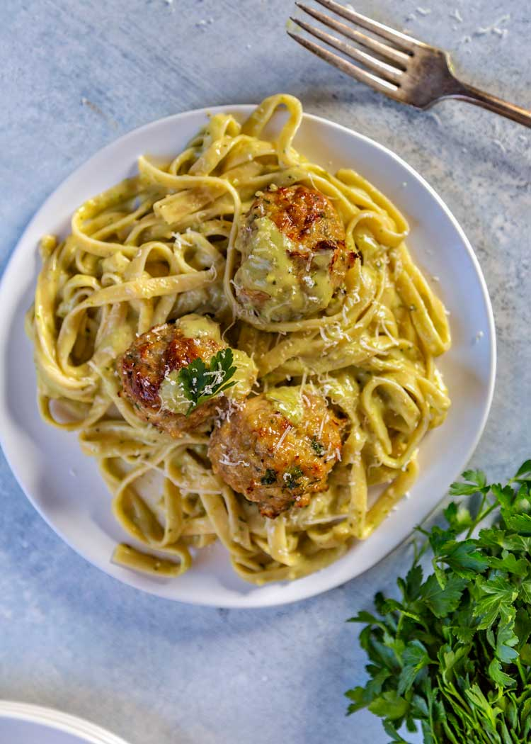 overhead shot of classic chicken meatballs with pasta