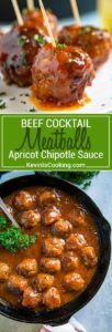 Tender beef meatballs pan seared and glazed with a wonderful sweet and savory sauce made with apricot jam, chipotle peppers and a few simple pantry items. These Beef Meatballs with Apricot Chipotle Sauce deliver BIG flavor and are the perfect appetizer or main course served with a side.