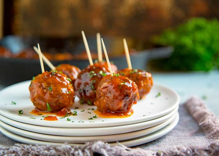 Easy Beef Meatballs with Apricot Chipotle Sauce