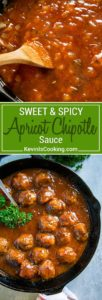 Apricot Chipotle Sauce - A wonderful sweet and savory sauce made with apricot jam, chipotle peppers and a few simple pantry items. Perfect to glaze meatballs, baste chicken and mop on ribs!