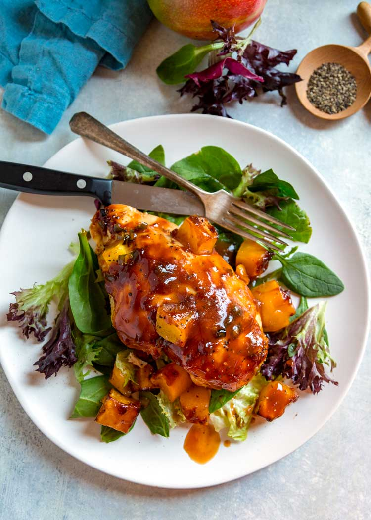Baked Barbecue Mango Chicken