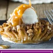 hasselback apple with streusel and caramel