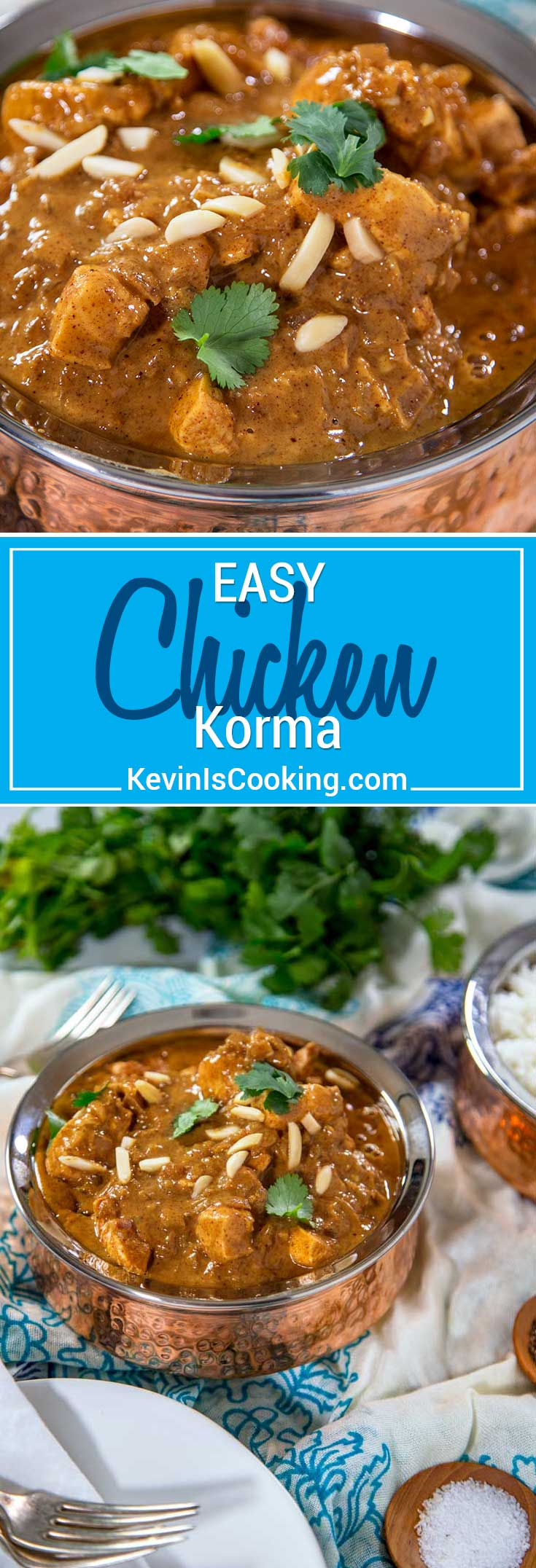 For my Easy Chicken Korma I give whole spice substitutions, use almond butter instead of soaking and puréeing, and use chopped, boneless chicken. The sauce is amazing and perfect served with rice. #chicken #Indian #korma