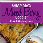 titled pinterest collage of mixed berry cobbler