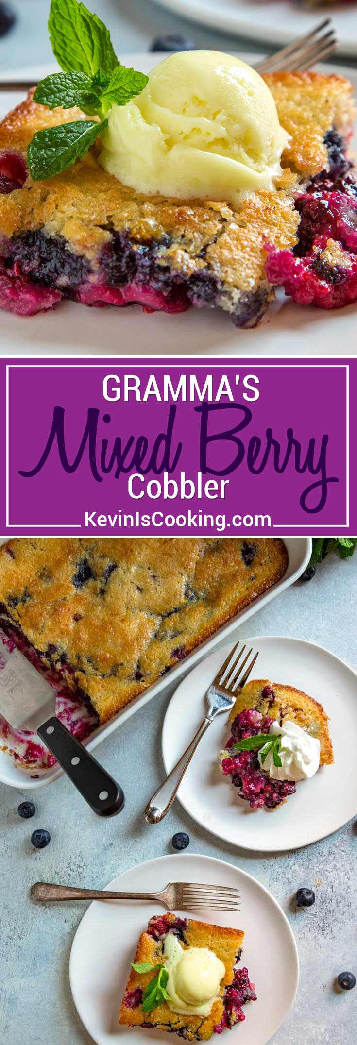 If you're looking for a great Springtime, old fashioned dessert, then my Gramma's Easy Berry Cobbler is one for you. A tasty, buttery batter that gets poured over fresh seasonal berries of choice is baked to a golden brown and is ready for a scoop of ice cream or whipped cream. #dessert #berries #cobbler