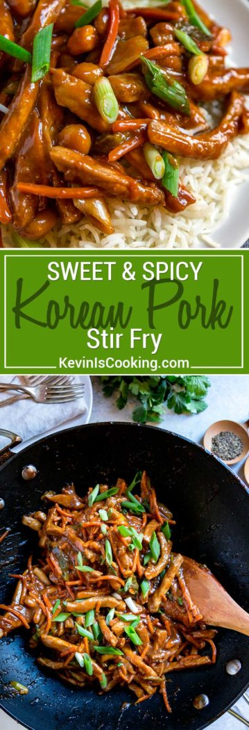 This Sweet and Spicy Korean Pork Stir Fry has strips of marinated pork loin that are seared with fresh vegetables and tossed with a sweet and spicy sauce that includes plum jam and the Korean paste gochujang. This is lip smacking good!