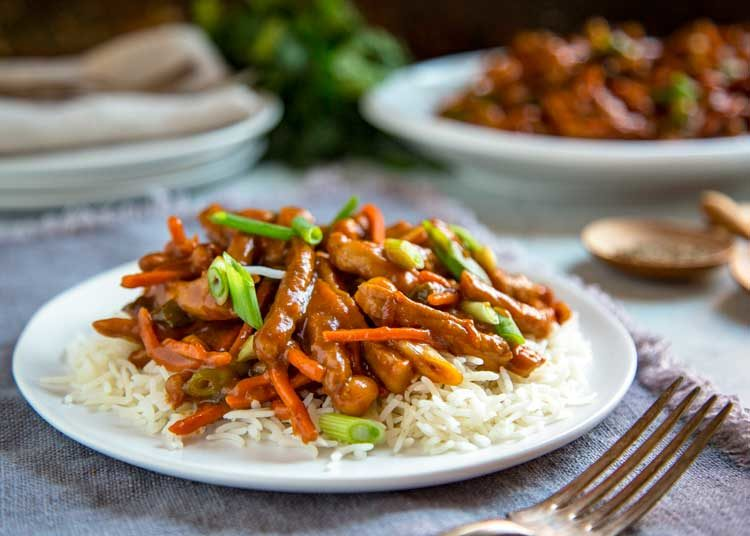 Sweet and Spicy Korean Pork Stir Fry on steamed rice