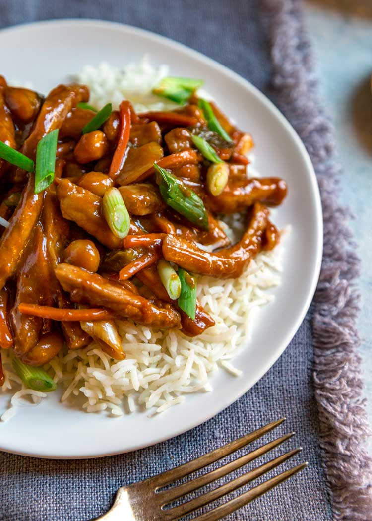 Sweet and Spicy Korean Pork Stir Fry on white plate